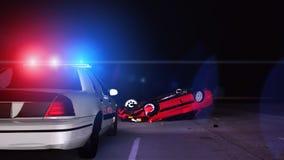 Полицейская машина на сцене аварии - 3D анимации иллюстрация вектора