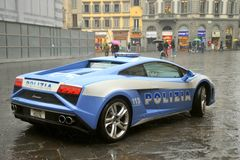 Полицейская машина Lamborghini роскошная в Флоренсе, Италии Стоковые Изображения