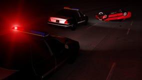 Полицейские машины на сцене аварии иллюстрация штока