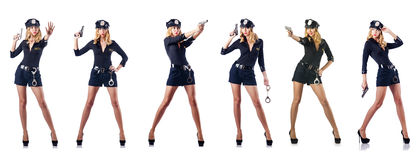 Полицейский женщины на белизне Стоковое Фото
