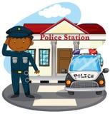Полицейский салютуя перед отделение полици Стоковые Изображения