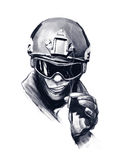 Полицейский с сигаретой стоковое фото