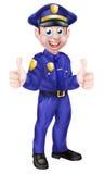 Полицейский шаржа давая большие пальцы руки вверх Стоковое фото RF