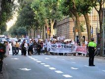 Полиция знамен протеста демонстрации Испании Европы Стоковые Фотографии RF