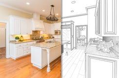 Полиэкран чертежа и фото новой кухни иллюстрация вектора