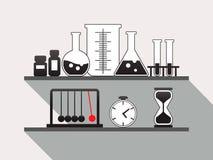 Полка научной лаборатории химии, плоская иллюстрация вектора иллюстрация штока