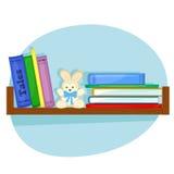 Полка с книгами для детей Иллюстрация штока