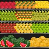 Полка с плодоовощами в супермаркете Стоковые Изображения RF