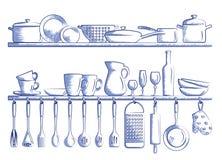 Полки кухни и варя утвари Стоковая Фотография RF