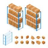 Полки склада установили равновеликий взгляд вектор Стоковое Изображение RF