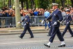 Полковник в военном параде (дефиле) во время церемонии французского национального праздника, чемпионов Elysee ave Стоковые Фотографии RF