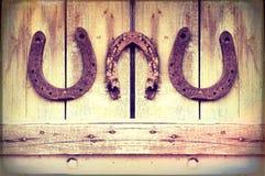 Подковы на стене Стоковое Изображение