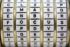 по мере того как головоломка пароля фокуса выкрика комбинации коробки к Стоковая Фотография RF