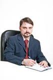 по мере того как одетьнный человек ручки заполнителя Стоковое фото RF