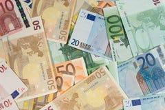 по мере того как предпосылка представляет счет евро Стоковое Изображение