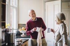 по мере того как прервано варить встречных пар каждого обрамил счастливо счастливый горизонтально взгляд кухни около другой печки стоковое фото