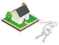 по мере того как прикрепленные ключи keyring дома к Стоковое Изображение