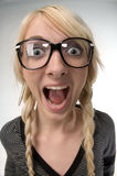 по мере того как стекла девушки humor как женщина взглядов nerdy Стоковые Фото