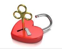 по мере того как сформировано золотистый замок ключа сердца раскрыл красный цвет Стоковые Изображения