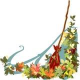 Подметая упаденные листья Стоковое Фото