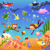 Под морем иллюстрация вектора