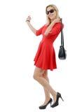 Полная диаграмма белокурого платья женщины вкратце красного Стоковые Изображения RF