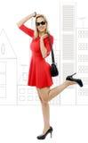 Полная диаграмма середины постарела платье женщины вкратце красное Стоковое фото RF