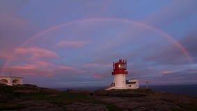 Полная радуга и заход солнца Стоковые Изображения RF