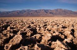 Под на уровне моря национальным парком Death Valley поля для гольфа дьявола Стоковая Фотография RF