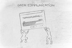 Подниматься людей всплывающий с загрузкой бара передачи данных и прогресса Стоковые Изображения