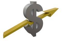 поднимать запаса знака доллара 3D Стоковые Фото