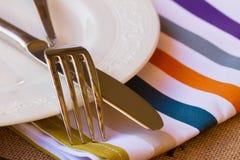 Поднимающее вверх ножа и вилки близкое Стоковая Фотография RF