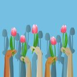 Поднимающий вверх значок рук с цветками Стоковые Фотографии RF