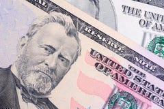 50 поднимающих вверх доллара близких Стоковое Изображение