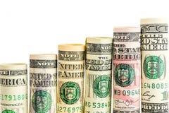 Поднимая шаги сделанные из кренов всех американских банкнот доллара Стоковое Изображение