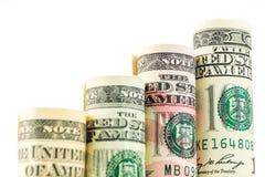 Поднимая шаги сделанные из кренов 4 оценивать американских долларов b Стоковая Фотография RF