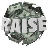 Поднимите повышение заработной платы слова 3d больше компенсации дохода денег Стоковые Фото