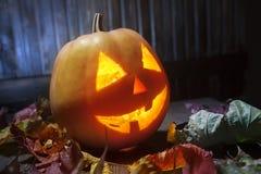 Поднимите сторону домкратом тыквы хеллоуина фонариков o на деревянной предпосылке Стоковое Изображение RF