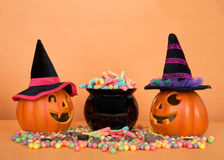 Поднимите фонарики домкратом o нося шляпы ведьмы с котлом конфеты Стоковое Изображение RF