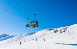 поднимите лыжу Лыжный курорт Livigno Стоковое Изображение RF