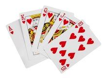 полное королевское белизна покера играть карточек предпосылки Стоковое фото RF