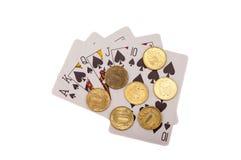 полное королевское играть монеток карточек Стоковые Изображения RF