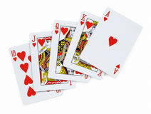 полное королевское Играя карточки на белизне Стоковые Изображения RF