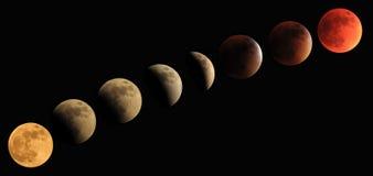 Полное прогрессирование лунного затмения к луне крови Стоковое Изображение RF