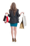 Полное тело девушки покупок от позади Стоковые Фото