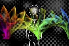 Полнометражный мужчина дела с ламп-головой в костюме Стоковое фото RF