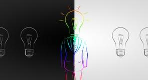 Полнометражный мужчина дела с ламп-головой в костюме Стоковые Фото