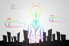 Полнометражный мужчина дела с ламп-головой в костюме Стоковое Фото