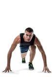 Полнометражный портрет бегуна готовый для того чтобы участвовать в гонке Стоковая Фотография RF