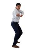 Полнометражный портрет бизнесмена вытягивая незримую веревочку Стоковая Фотография